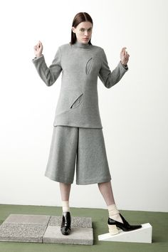 Vertige Top and Fowler Pant in grey boucle knit.