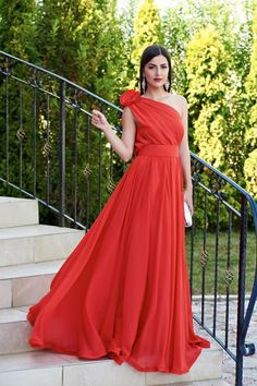 StarShinerS--Occasional Ana Radu red voile fabric one shoulder Katrina Kaif, Look Alike, The Selection, Classy, Formal Dresses, Floral, Womens Fashion, Fabric, Collection