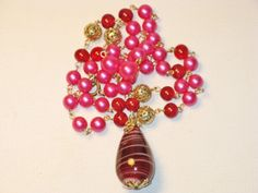 Vintage Pink and Russet Art Glass and Faux by delightfullyvintage