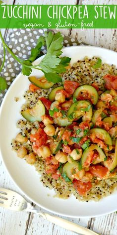 When summer squash is in season, make Zucchini Chickpea Stew! It's vegan and gluten-free, with an oil-free option. Serve it over quinoa for a complete meal. via @VeggiesSave