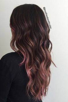 hair highlights asian Love the pink ends balayage Love the pink ends b+ . Love the pink ends balayage Love the pink ends b+ Rose Gold Hair Brunette, Ombre Hair, Balayage Hair, Pink Hair, Violet Hair, Brunette Color, Haircolor, Red Hair, Chocolate Mauve Hair