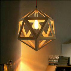 Simple but appealing wooden crafts Wood Pendant Light, Wood Chandelier, Wood Lamps, Pendant Lamp, Hanging Light Fixtures, Pendant Light Fixtures, Hanging Lights, Pendant Lighting, Birdcage Light
