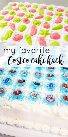 My favorite Costco cake hack. This will save you tons of time and money! Costco Birthday Cakes, Costco Wedding Cakes, Birthday Sheet Cakes, Wedding Sheet Cakes, Diy Birthday Cake, Costco Party Food, Costco Appetizers, Costco Recipes, Pastries