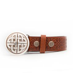Conor Irish Leather Belt with Celtic Knot Belt Buckle Celtic Designs, Celtic Knot, Emboss, Belt Buckles, Real Leather, Leather Wallet, Knots, Pairs, Unique Jewelry