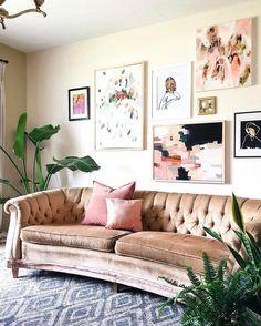 Pink Velvet Couch | Emily Henderson