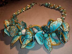 Beaded Crochet necklace made with Polymer Clay by crystalsoflove, $75.00