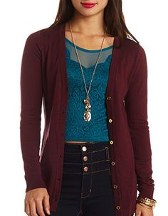 Button-Up Boyfriend Cardigan: Charlotte Russe | Sweaters ...
