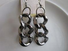Gun metal gray toned large link earrings by LeeliaDesigns on Etsy