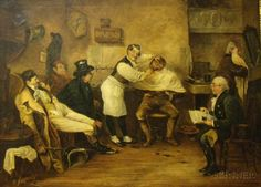 Framed 19th Century American Oil on Canvas, The Barbershop, unsigned.