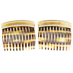 CARTIER Two Diamond Gold Platinum Turtoise Shell Hair Combs | From a unique collection of vintage more jewelry at http://www.1stdibs.com/jewelry/more-jewelry-watches/more-jewelry/ 12.5 K USD