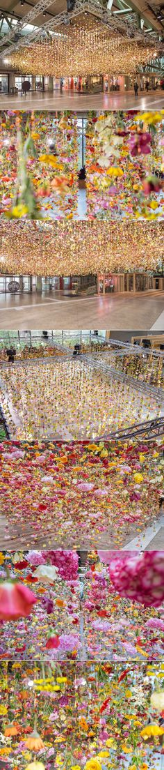 Rebecca Louise Law has created a fantastical canopy of color with over 30,000 suspended flowers | installation | art installation | flower art | site specific art