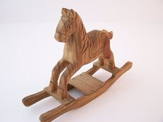 Vintage Hand Carved Wooden Rocking Horse Mini Horse