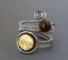 Wire wrapped ring / Wire Wrapped jewelry handmade / silver wire wrap ring / wire jewelry / honey brown mother of pearl / woven wire jewelry via Etsy