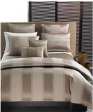 """Allover luxury with a hint of opulence, Wide Stripe Bronze bedding from Hotel Collection sets a tone of sophistication. Soft fabrics shine with subtle metallics and warm neutrals, giving understated allure to your bedroom. Modern quilting and exceptionally sumptuous sheeting complete the collection with refined simplicity        90 x 96""""      Button closure      Queen Bronze Duvet ONLY      Polyester/cotton/viscose      Dry clean"""
