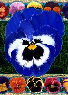 Pansy Faces II Painting by Anne Nye