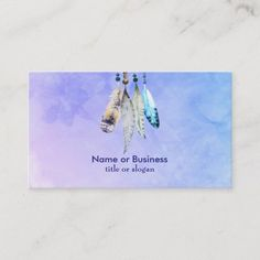 Shop Watercolor Beads and Feathers on a Purple Backdrop Business Card created by Mirribug. Personalize it with photos & text or purchase as is! Premium Business Cards, Salon Business Cards, Artist Business Cards, Unique Business Cards, Business Card Design, Business Supplies, Watercolor Texture, Watercolor Design, Watercolor Artists