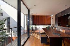 「中庭のある3階建て二世帯住宅」江戸川区::(株)中野工務店 Kitchen Dining, Dining Rooms, Love Home, Balcony, Vanity, Lights, Interior Design, Architecture, Building