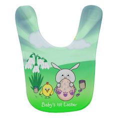 Customize: Baby's 1st Easter. Cute Easter Bunny and chick Coloring Easter Egg Baby Bib by #PLdesign #Easter #EasterGift #EasterBunny #bunny #chick #BabyBib