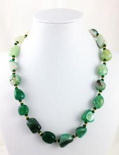 Green Striped Agate and Gold Handmade Necklace Free Shipping