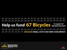 67 Bicycles for Mandela Day Fundraisers, Bicycles, Day, Bracelets, Life, Bracelet, Bike, Arm Bracelets, Bicycle