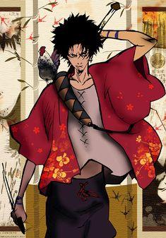 mugen x fuu Samurai Anime, Afro Samurai, Pokemon Advanced, Samurai Jack, Manga Art, Manga Anime, Anime Art, Digimon, Ghost In The Shell