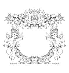 Free victorian frame with angels vector