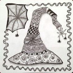 Joey's Weekly Tangle Challenge dared us to create a Zentangle-inspired tangled Witch's Hat using any tangle patterns we felt looked like Halloween.