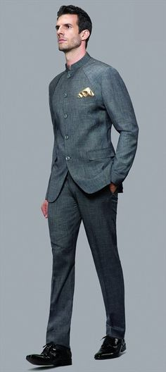 502816 Black and Grey  color family Jodhpuri Suit in Rayon fabric with Thread work .