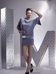 This gray mini dress has an enticing Half-Sleeve design with a loose top and a tight skirt. Category: / Women's Clothing / Clubwear / Club Dresses