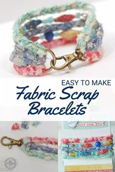 Fabric Scrap Bracelets – Sewing With Scraps Textile Jewelry, Fabric Jewelry, Beaded Jewelry, Handmade Jewelry, Fabric Beads, Handmade Bracelets, Scrap Fabric Projects, Fabric Scraps, Hemp Fabric
