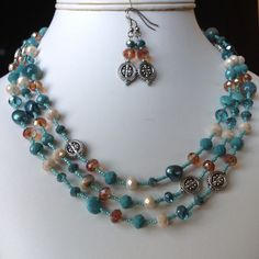 Turquoise color long wraparound necklace and earring set by Beadopia on Etsy