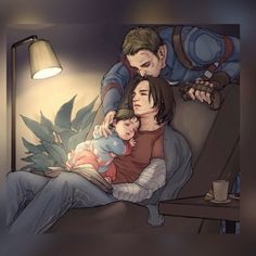 Home from a mission to find his little family had fallen asleep reading a book.    It's too precious!    Domestic Stucky with a baby. Daddy Steve Rogers Daddy Bucky Barnes  I wish I could give credit.  No idea where it came from.