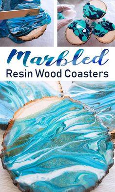 DIY Marble Resin Coasters