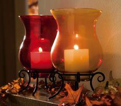 Glass Hurricane Pillar Candle Holder W/ Base - Orange Or Red