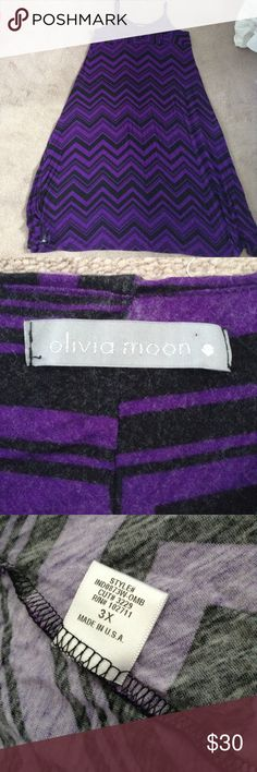 Olivia moon 3x purple and black chevron maxi dress Message me with any question! This dress is new without tags. Never been worn. Olivia Moon Dresses Maxi