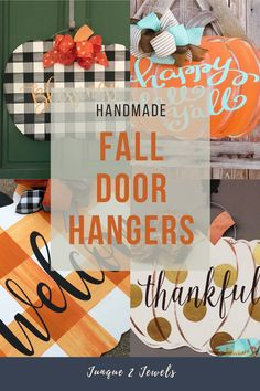 Handmade pumpkin door hangers for your fall front porch. So many design options to choose from, all handmade by Junque 2 Jewels #fallporchdecor #pumpkindoorhanger #fallwreaths #junque2jewels #fallporch Fall Wood Signs, Fall Signs, Wooden Signs, Easy Fall Crafts, Fall Diy, Front Door Decor, Front Porch, Seasonal Decor, Fall Decorations