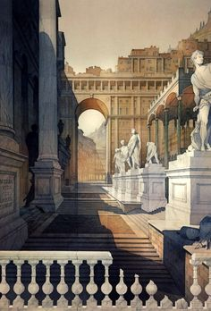 roman stage set by Thomas W Schaller Watercolor ~ 30 inches x 20 inches amazing precision Architecture Antique, Architecture Drawings, Classical Architecture, Historical Architecture, Architecture Details, Empire Romain, Art Watercolor, Watercolor Architecture, Stage Set