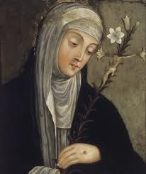 Catherine-of-Siena-She was the 24th of 25 children-her twin sister died. St Catherine died in Rome, on 29 April 1380, at the age of thirty-three, having suffered a stroke eight days earlier. Jesus is also commonly thought to have died at the same age. She was buried in the cemetery of Santa Maria sopra Minerva which lies near the Pantheon. After miracles were reported to take place at her grave, Raymond moved her inside the Basilica of Santa Maria sopra Minerva,where she lies to this day
