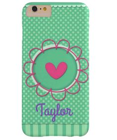 Mint Flower Heart Monogrammed Cell Phone Case for iPhone 6 Plus, iPhone 7 Plus & Samsung Note 4