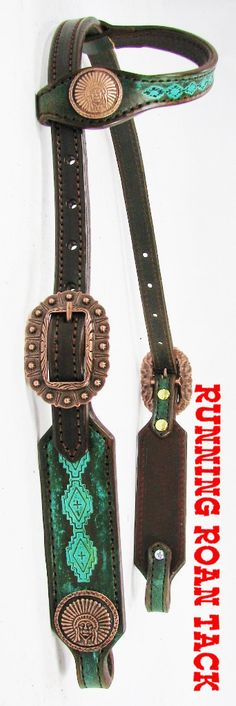 Rustic Turquoise Stamped Aztec SHORT GAG Headstall with Copper Indian Chief Conchos by Running Roan Tack