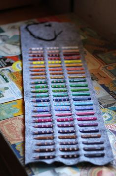 Here's another great idea for a home made gift - all you need is a strip of felt, some cord and a pack of coloured pencils.