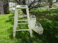 Vintage Wood Step Ladder, Foot Stool, Plant Stand With Two Step Fold…