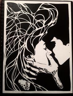 Paper cutting project! Bethany Jayde Bates - art Kirigami, Cut Out Art, Paper Art, Paper Crafts, Paper Cut Design, Art Original, Art Template, Stained Glass Patterns, Couple Art