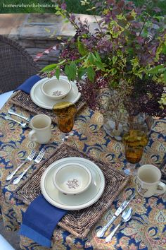A Floral Motif, Paisley Swirls and Pfaltzgraff Village Dinnerware | homeiswheretheboatis.net #tablescape