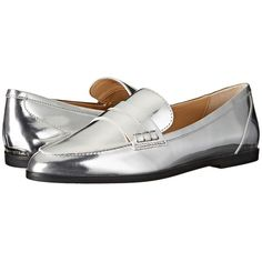 MICHAEL Michael Kors Connor Loafer (Silver Specchio) Women's Slip on... ($135) ❤ liked on Polyvore featuring shoes, loafers, pointed toe flats, slip on loafers, slip-on shoes, flat shoes and flat pumps