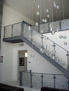 Eco-Resin Stair Rail Panels by California Closets of Las Vegas , via Behance Steel Stairs Design, Staircase Design Modern, Steel Stair Railing, Staircase Handrail, Home Stairs Design, Balcony Glass Design, Balcony Grill Design, Balcony Railing Design, Window Grill Design