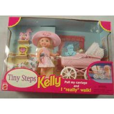 Tiny Steps Kelly Mattel Walking Doll & Carriage by Mattel. Barbie 90s, Barbie Doll Set, Vintage Barbie Dolls, Vintage Toys, Barbie Stuff, Tiny Steps, Barbie Playsets, Barbie Kelly, Barbie Sisters
