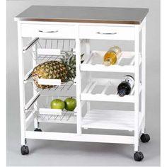 ¿Necesitas un carro para tu cocina donde poder guardar frutas, verduras y botellas? Pues en nuestra tienda te ofrecemos este Carro de Cocina de estilo moderno donde poder guardar y almacenar todos estos productos. En color blanco con tapa inoxidable.