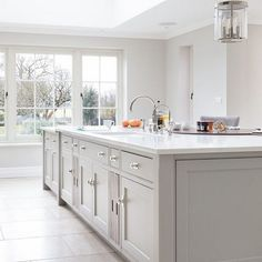 The main sink run is on the island which acts as the main prep area and is paral… Open Plan Kitchen Living Room, Home Decor Kitchen, New Kitchen, Home Kitchens, Kitchen Dining, Shaker Kitchen, Kitchen Island Sink, Awesome Kitchen, Kitchen Hacks