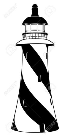 A Stylised Black And White Lighthouse Illustration With Diagonal ...